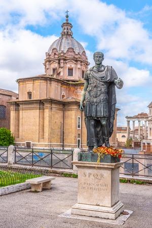 Statue of Roman Emperor Julius Caesar at Roman Forum, Rome, Italy.