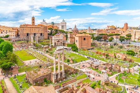 Roman Forum, Latin Forum Romanum, most important cenre in ancient Rome, Italy.
