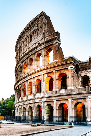 Colosseum, or Coliseum. Illuminated huge Roman amphitheatre early in the morning, Rome, Italy. Reklamní fotografie - 124376987