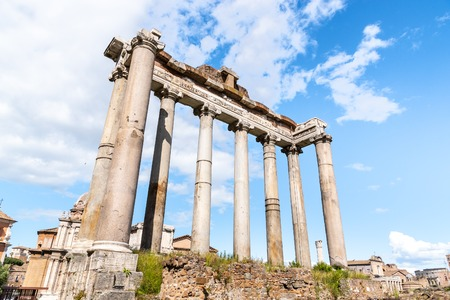 Temple of Saturn - ruins with old historical columns. Roman Forum archeological site, Rome, Italy. Reklamní fotografie
