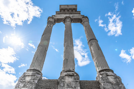 Temple of Castor and Pollux, Italian: Tempio dei Dioscuri. Ancient ruins of Roman Forum, Rome, Italy.
