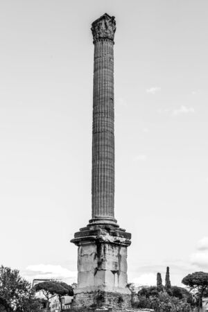 Column of Phocas in Roman Forum archeological site, Rome, Italy. Black and white image.