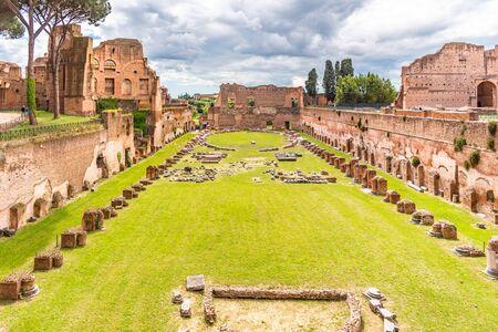 Palatine stadium - Hippodrome of Domitian. Palatine Hill archaeological site, Rome, Italy.
