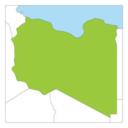 Map of Libya green highlighted with neighbor countries.