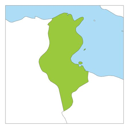 Map of Tunisia green highlighted with neighbor countries.