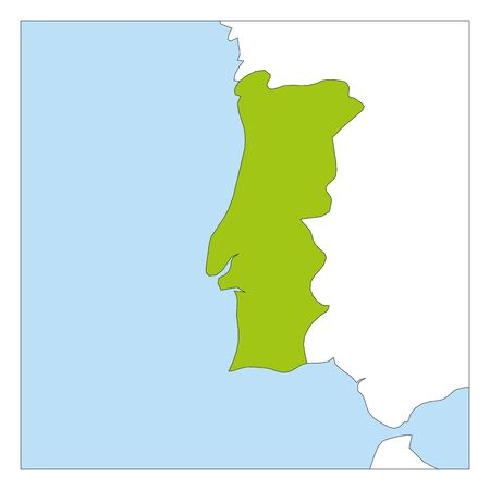 Map of Portugal green highlighted with neighbor countries. Illustration