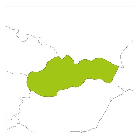 Map of Slovakia green highlighted with neighbor countries. Illustration