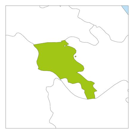 Map of Armenia green highlighted with neighbor countries.