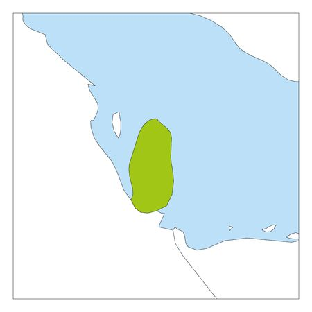 Map of Qatar green highlighted with neighbor countries.