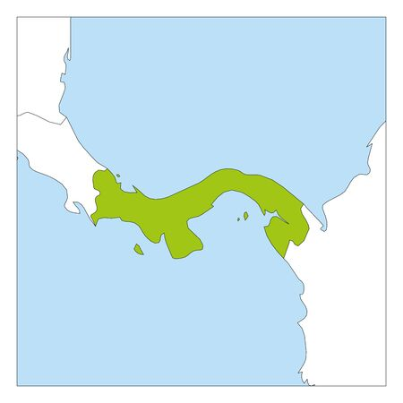 Map of Panama green highlighted with neighbor countries.
