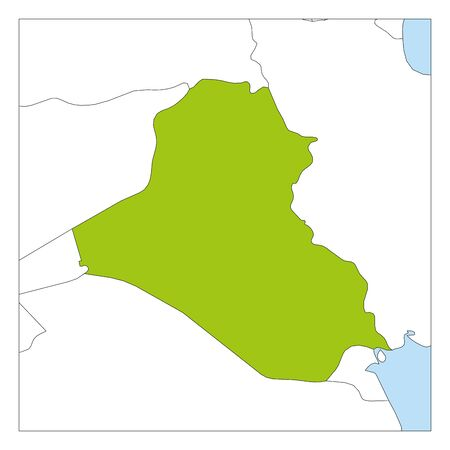 Map of Iraq green highlighted with neighbor countries. Illustration