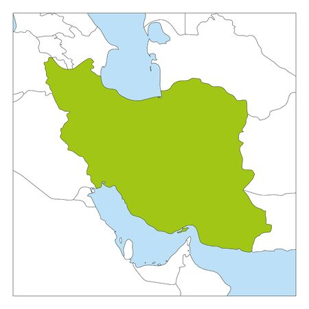Map of Iran green highlighted with neighbor countries.