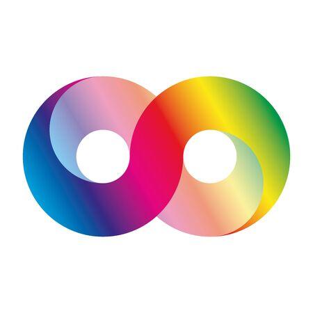El icono del símbolo de infinito, también conocido como lemniscate, parece el número ocho de lado. Símbolo matemático que representa el concepto de figura infinita. Ilustración de vector de gradiente de espectro de luz de arco iris.