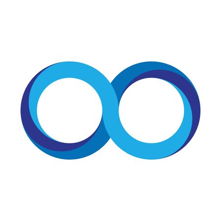 Blue infinity symbol icon. 3D-like gradient design effect. Vector illustration.
