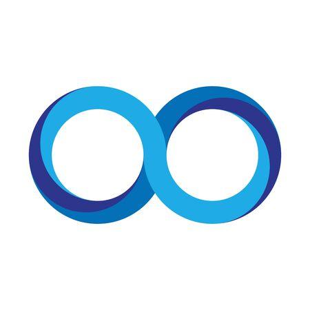 Blue infinity symbol icon. 3D-like gradient design effect. Vector illustration.