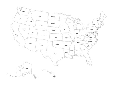 Political map of United States od America, USA. Simple flat black outline vector map with black state name labels on white background. 矢量图像
