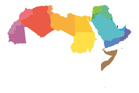 Arab World states political map with colorfully higlighted 22 arabic-speaking countries of the Arab League. Northern Africa and Middle East region. Vector illustration.
