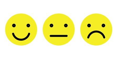 Basic emoticons set. Three facial expression of feedback scale - from positive to negative. Simple yellow vector icons.