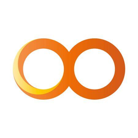 Orange infinity symbol icon. 3D-like gradient design effect. Vector illustration.  イラスト・ベクター素材