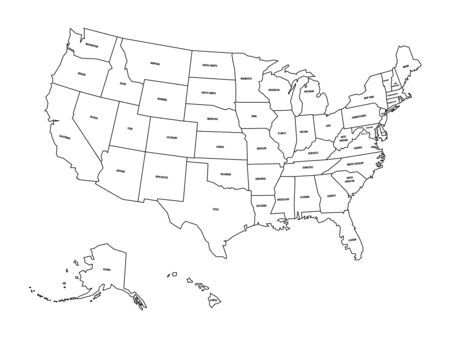 Political map of United States od America, USA. Simple flat black outline vector map with black state name labels on white background. Illustration