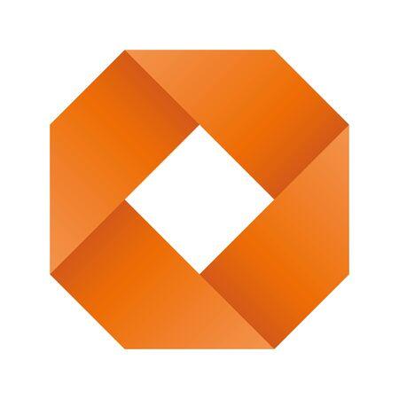 Orange infinite ribbon loop folded in a shape of rhombus. 3D-like vector symbol. Modern icon design.