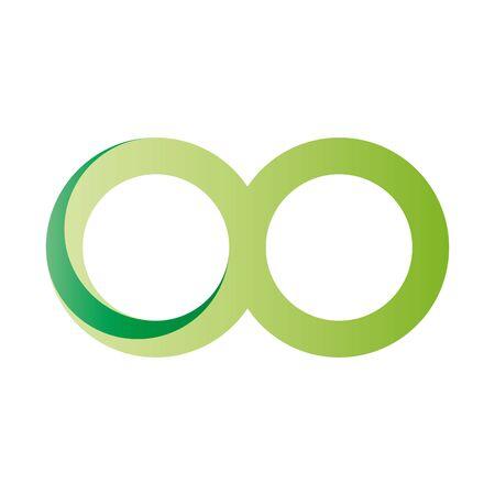 Green infinity symbol icon. 3D-like gradient design effect. Vector illustration.