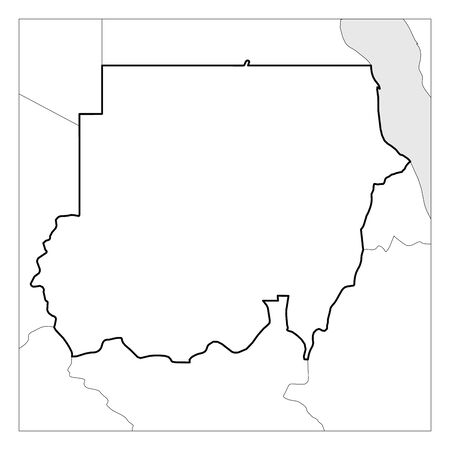Map of Sudan black thick outline highlighted with neighbor countries.