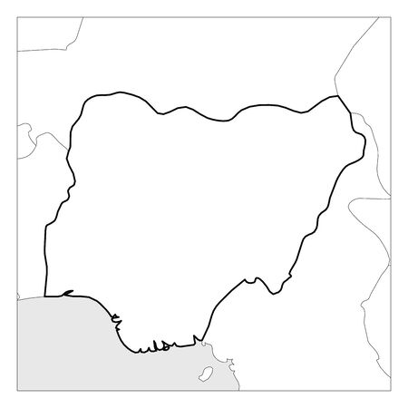 Map of Nigeria black thick outline highlighted with neighbor countries. Illustration