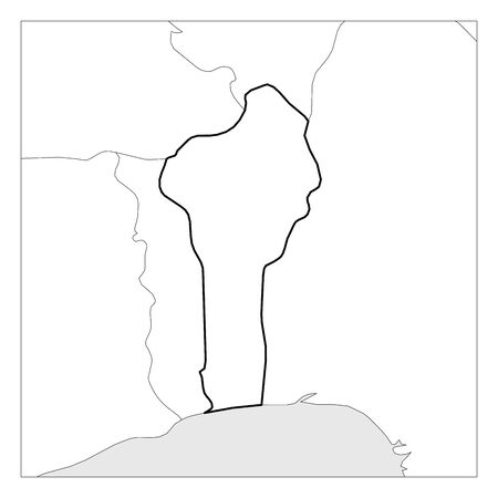 Map of Benin black thick outline highlighted with neighbor countries. Illustration