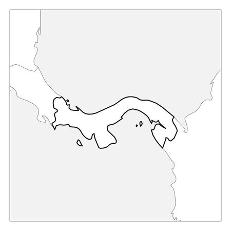Map of Panama black thick outline highlighted with neighbor countries. Illustration