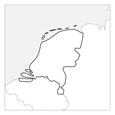 Map of Netherlands black thick outline highlighted with neighbor countries. Illustration