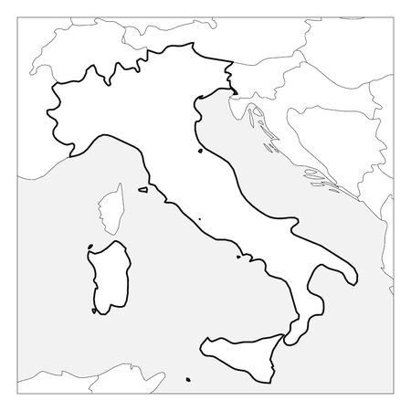 Map of Italy black thick outline highlighted with neighbor countries. Illustration
