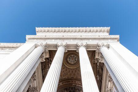 Architectural detail of columns of Vittorio Emanuele II Monument, aka Vittoriano or Altare della Patria. Rome, Italy. Stok Fotoğraf