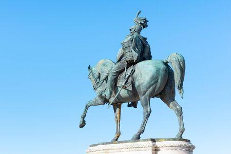 Equestrian statue of Vittorio Emanuele II - Monument Vittoriano or Altare della Patria. Rome, Italy.