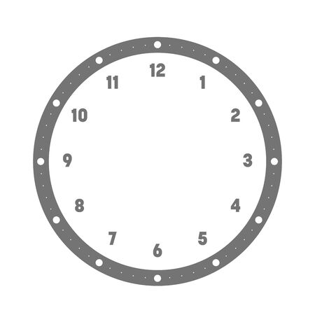 Clock face. Hour dial with numbers. Dots mark minutes and hours. Simple flat vector illustration.