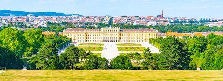 VIENNA, AUSTRIA - 23 JULY, 2019: Schonbrunn Palace, German - Schloss Schonbrunn, and Great Parterre French Garden with beautiful flower beds in Vienna, Austria