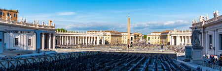 St Peters Square with Egyptian Obelisk, Vatican City, Rome, Italy. Panoramic shot.