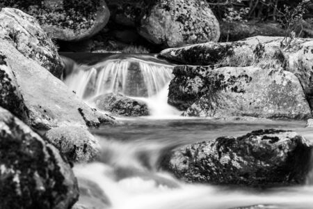 Mountain rocky river flow. Long exposure shot. Black and white image.