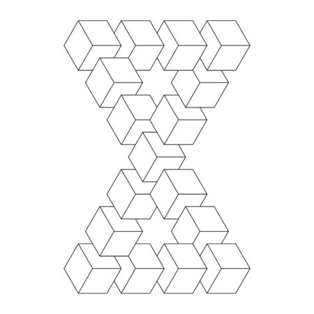 Two connected impossible triangles. 3D cubes arranged as geometric optical illusion. Reutersvard loop. Vector illustration.