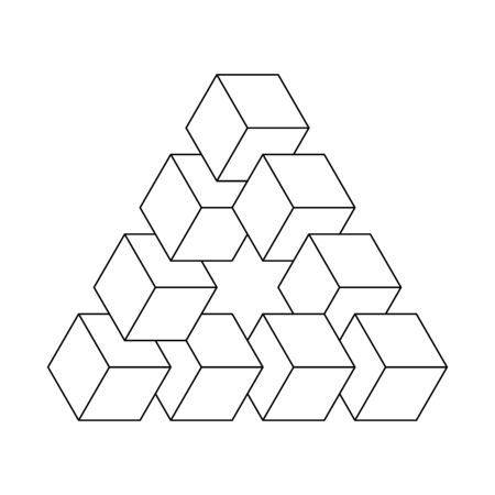 Impossible triangle. 3D cubes arranged as geometric optical illusion. Reutersvard traingle. White vector illustration with thin black outline.