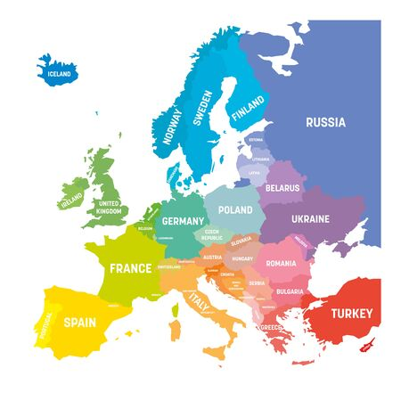 Map of Europe in colors of rainbow spectrum. With European countries names. 矢量图像