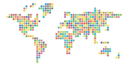 World map multicolored mosaic of small squares. Vector illustration.