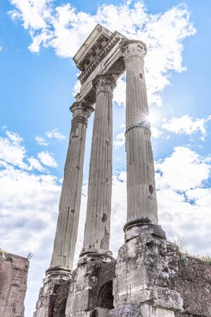 Temple of Castor and Pollux, Italian: Tempio dei Dioscuri. Ancient ruins of Roman Forum, Rome, Italy.