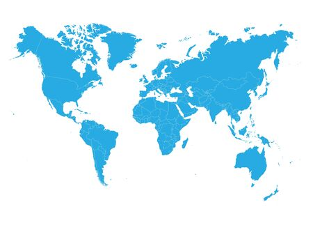 Blue World map on white background. High detail blank political. Vector illustration.