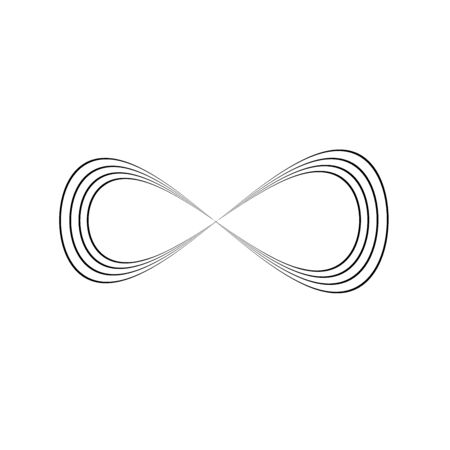 Infinity symbol of multiple thin black lines. Concept of infinite, limitless and endless. Simple flat vector design element.