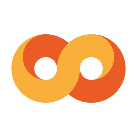 Orange infinity symbol icon. 3D-like design effect. Vector illustration.
