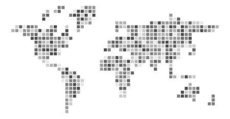 World map grey mosaic of small squares. Vector illustration.