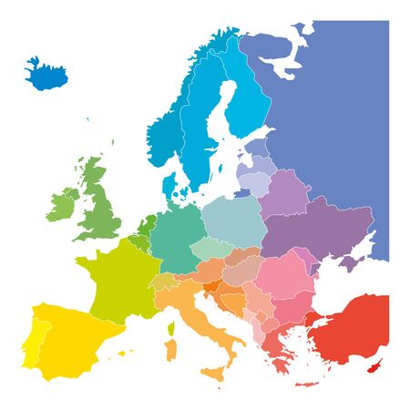 Map of Europe in colors of rainbow spectrum. With European countries names. Stock Illustratie