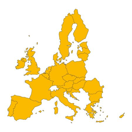 Political map of European Union, EU, member states. Simple flat vector illustration.