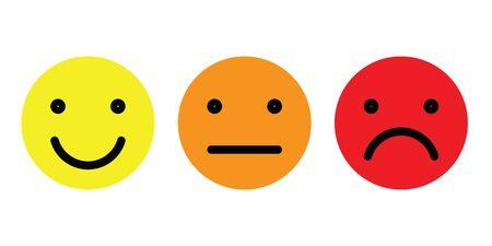 Ensemble d'émoticônes de base. Trois expressions faciales de l'échelle de rétroaction - du positif au négatif. Icônes vectorielles simples.